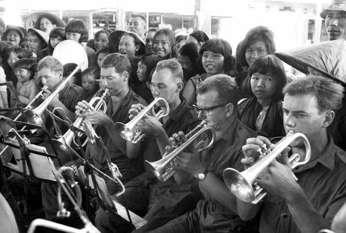 L-R: Peter Lapko (Trombone), Bill McIntyre (Flugel), Jock Bouse, Norm Sims? and Norm Harris (Cornets)